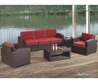Уличный диваны и кресла Rattan Premium 5 Венге. Подушки оранжевые
